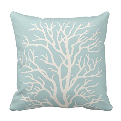 Emvency Throw Pillow Cover Reef Coral Tree in White on Sea Blue Nautical Decorative Pillow Case Home Decor Square 18 x 18 Inch Pillowcase
