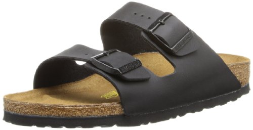 Birkenstock Unisex Arizona Slide Fashion Sandals, Black Leather, 44 - Slides Mens Arizona