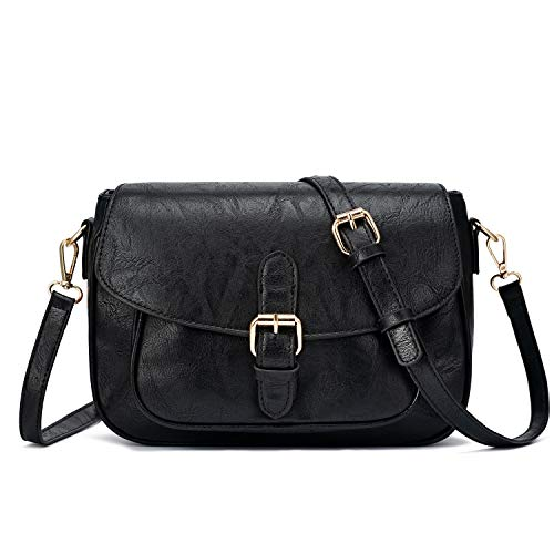 Small Purse Vintage Satchel for Women PU Leather Cover Hasp Crossbody Bag and Saddle Shoulder Bag with Long Adjustable Strap (Large Upgrade Black)