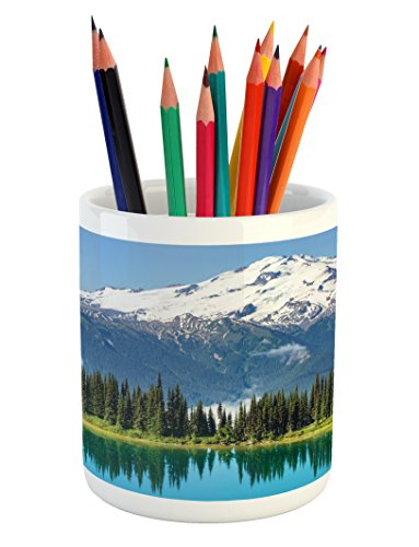 Landscape Pencil Pen Holder by Lunarable, Majestic Glacier Peak in Washington Tree in Water Meadow Hiking Artwork Print, Printed Ceramic Pencil Pen Holder for Desk Office Accessory, Green Blue Glacier Christmas Tree
