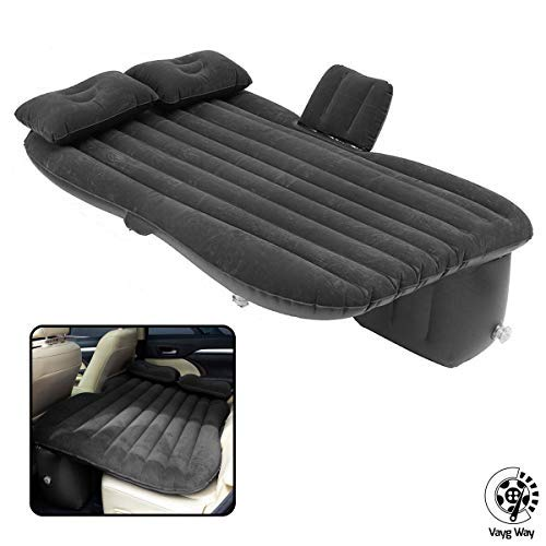 VaygWay Inflatable Car Air Mattress - Air Bed with Pump Kit - Back Seat Travel Air Mattress - Camping Vacation Blow up Bed - Sleeping Pad with 2 Pillows - Universal Car SUV Truck Fit