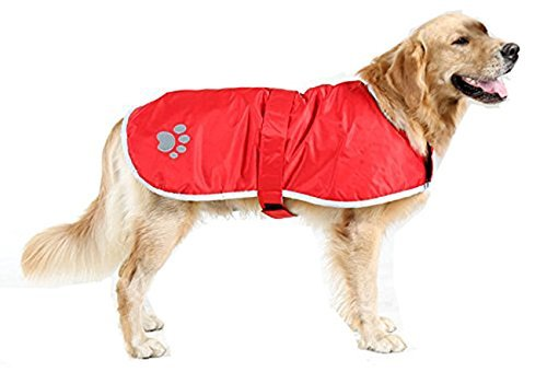 - TOPSOSO Fashion Shop Dog Blanket Coat Reversible Winter Jacket with Waterproof Shell,Fleece Lining and Reflective Strip and Paw Print 3 Color for Choice. (Red, L(Back 20