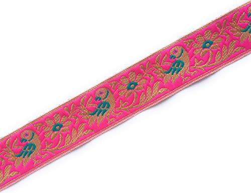 Saree Trim Jacquard Lace in Pink and Gold Parrot Motif 5 Yards by Craftbot