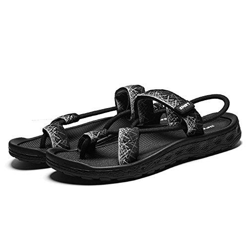 sandali adatti slip estivi slip toe Open Xiaoqin per gli sport uomo casual libero da sportivo sandali confortevole del Black tempo 70P8qg