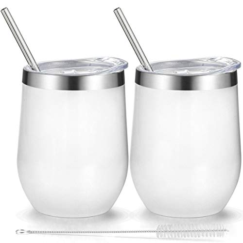 (Fungun 12 oz Stemless Wine Tumbler, Stainless Steel Wine Glass, Insulated Tumbler with Lids for Wine, Coffee, Drinks, Cocktails, 2 Sets Including 2 Pieces Straws and Brush (White))