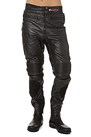 2837f83a55 KENROD Men's motorcycle pants Soft leather Adjustable elastic waist and  protection Color Black Size XXL: Amazon.co.uk: Car & Motorbike