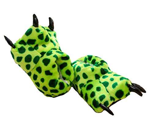 Tonwhar Unisex-adult Home Slippers Cartoon Cosplay Paw Claw Shoes green polka dot K6q5twZq