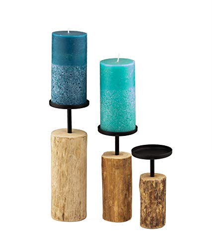 """14 18.5 x 23.5 CM Set of 3 Candle Holder Candlestick /""""Tempe/"""" wood"""