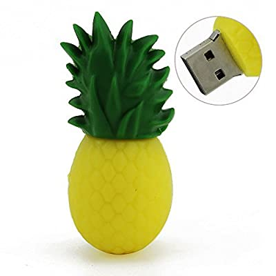 CHUYI Cute and Creative High Speed Fruit Series Pineapple Shape 16GB USB 2.0 Flash Drive Pendrive Data Storage Memory Stick Jump Drive Lovely ThumbDrive U Disk Gift