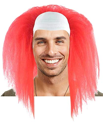 Scary Bald Clown Long Wig, Red Adult