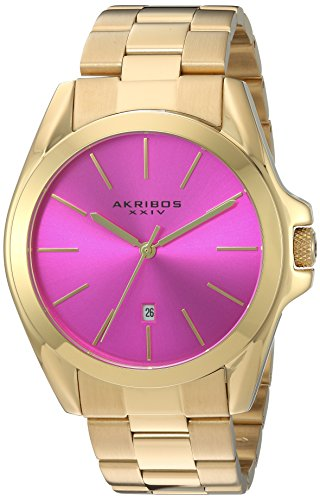 Akribos XXIV Unisex Gold Tone Case on Stainless Steel Gold Bracelet with Hot Pink Dial and Gold Tone Hands Watch AK948YGPK