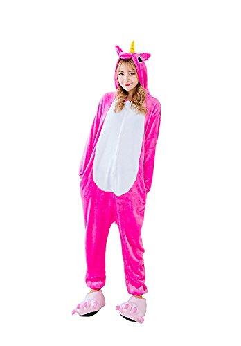 YACHUN Adult Unicorn Pajamas Animal Costume Cosplay Onesie Halloween Gift Hot Pink S