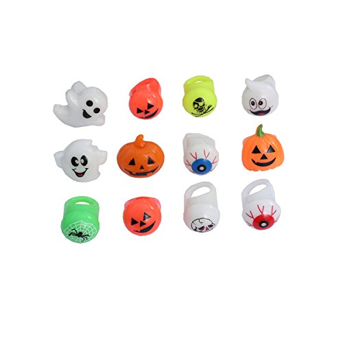 Toymytoy 12Pcs Colorful Led Light Up Rings Halloween Christmas Finger Lights Toys Party Favors Rings For Kids And Adults  Random Style