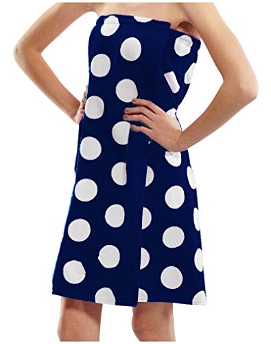 - byLora Polka Dot Terry Cotton Women Shower Wrap Towels - Navy - S/M