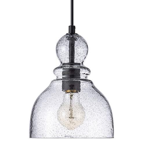 LANROS Farmhouse Mini Pendant Lighting with Handblown Black Sand Powder Glass Shade, Adjustable Cord Ceiling Light…