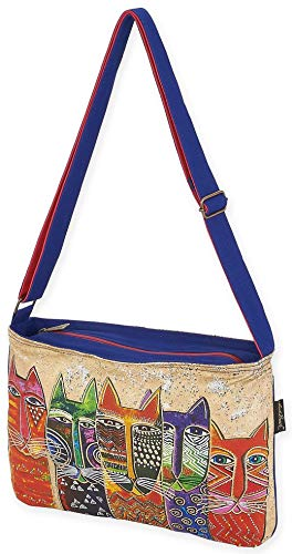 Sun N Sand, Laurel Burch Long Neck Cats Crossbody Purse CAT PRINT N, Blue