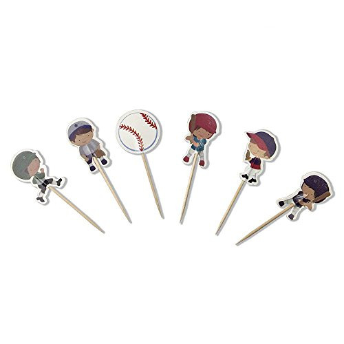 PROPARTY Baseball Sports Cake Cupcake Toppers Picks for Birthday Wedding Baby Shower Decoration 24 PCS ()