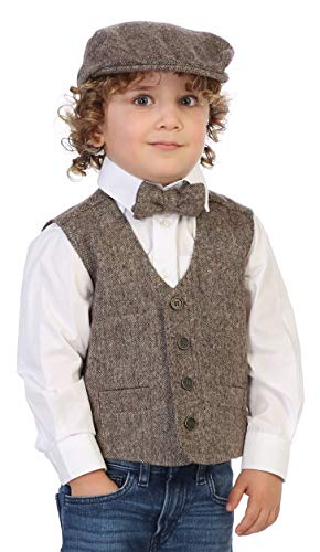 - Gioberti Boy's 3pc Tweed Vest with Matching Cap and Bow Tie, Donegal Khaki, Size 8