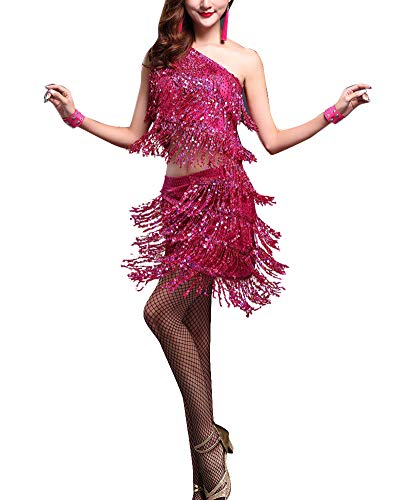 Pièces Rumba Salsa Robe Jupes Rose Latin 2 Tops Femmes Costume yIYgf67vb