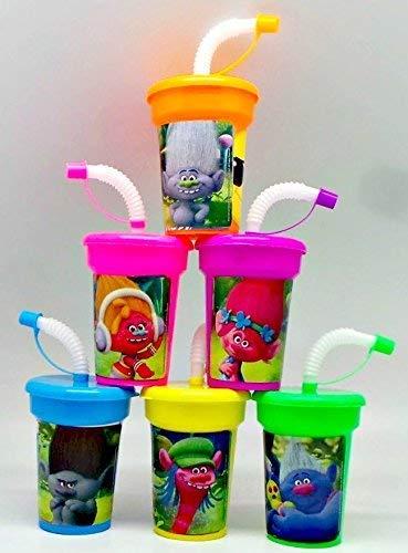Amazon.com: 6 Trolls pegatinas de cumpleaños tazas con tapas ...