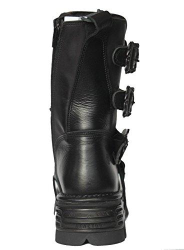 Goth Bottes Noir Métallique Rock M Punk Newrock Réacteur Unisexe 391 Motard Nouveau Noirs Noir PwU18