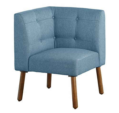 The Mezzanine Shoppe 56020BLU Playmate Mid Century Fabric Upholstered Tufted Back Corner Chair, 24