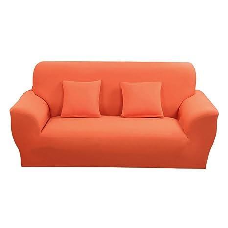 Hotniu Funda Elástica de Sofá Funda de Color Liso para sofá Antideslizante Protector Cubierta de Moda (Dos Plazas, Naranja)