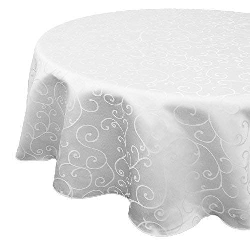 70-120 Inches Round White Woven Damask Tablecloth With An Overlay Branch Swirl Pattern - In Sets Of 1,5, 10 (120 Inches, 10Pcs)