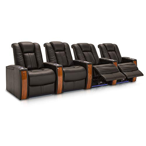 Seatcraft Monaco Leather Home Theater Seating Power Recline with Adjustable Powered Headrests and Built-In SoundShaker (Row of 4, Black)