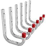 6 Stück - Wandhaken Metallhaken Universal-Haken aus Stahl | 150 x 210 mm | Stahl verzinkt | Tragkraft 50 kg | Montagehaken- Kellerhaken oder Garagenhaken uvm. | verstärkte Ausführung mit Quadratrohr | Baubeschläge von GedoTec