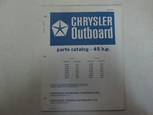 1972 Chrysler Outboard 45 HP Parts Catalog Manual Factory OEM OB 1617-1 *** Chrysler Outboard Parts Catalog
