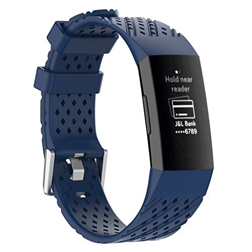 Haluoo Silicone Sport Bands Compatible with Fitbit Charge 3 Women Men, Soft Breathable Sport Replacement Strap Wristband Accessories, Black White Gray Pink Green Sky Blue Purple (Blue)