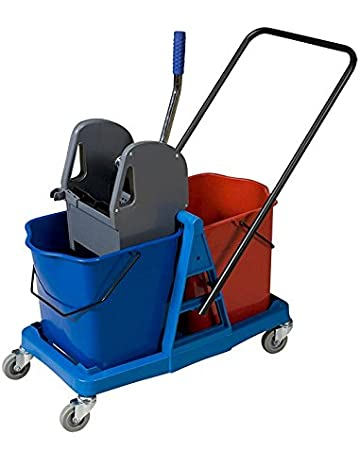 Carro de limpieza con doble cubo de 25 litros y prensa. Carro de fregado profesional