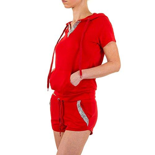 Freizeit Zweiteiler Kapuzen Strass Anzug Für Damen , Rot In Gr. L bei Ital-Design