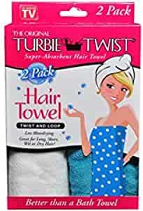 Turbie Twist Microfiber Super Absorbent Hair Towel (2 Pack) Aqua-White
