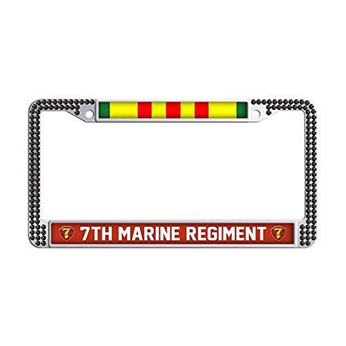 (7th Marine Regiment Vietnam Veteran License Plate Frame,Black Rhinestones Car License Plate Frame Holder)