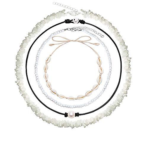 Lyric U Puka Shell Necklace Hawaiian White Bead Pearl Shell Choker Beach Necklace for Women Girls 4pcs (4Pcs)