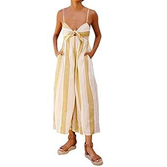 e10ff8fd8fa Amazon.com  NEWONESUN 2018 Women Strap Striped Print High Waist ...
