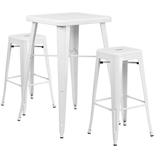 Flash Furniture 23.75'' Square White Metal Indoor-Outdoor Bar Table Set with 2 Square Seat Backless Stools (Outdoor Bar Height Table Set)