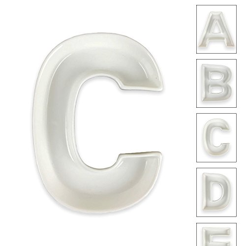 Just Artifacts - 5.5inch White Ceramic Letter Dish - Letter: C - Decorative Dishes for Weddings, Anniversarys, Baby Showers, Birthday Parties and Life (C Shaped Shower)