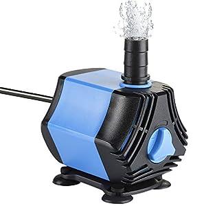 Zacro Bomba Sumergible Bomba de Agua 650L / H, Bomba de Agua Ultra Silencioso de 10W con 4 Ventosas y 2 Boquillas (13/8…