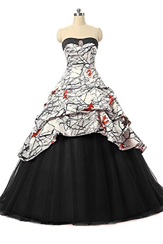 iLovewedding Realtree White Camo Wedding Dress Tulle Ball Gown Prom Party Quinceanera(Black 17W)