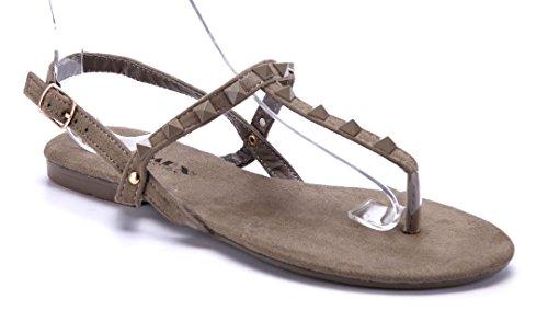 Schuhtempel24 Damen Schuhe Zehentrenner Sandalen Sandaletten Flach Nieten  Grün b010a059e2