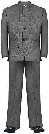 マオカラースーツ 格子柄グレー ヤクザ チンピラ ホスト 成人式 二次会 オラオラ系 紳士 メンズ ファッション 上下セット 服 派手 DJ-SU094
