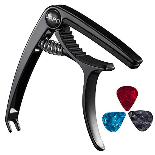 (Guitar Capo, Bee-life Professional Zinc Metal Capo for 6 & 12 String Acoustic Guitar, Electric Guitar, Ukulele, Bass, Banjo, Mandolin with Free 3 PCS Guitar Picks (Black) )