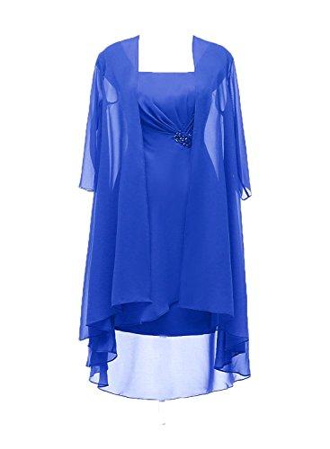 manches Avec Mère En Mariée Mousseline Robe La Plissée Royal De Demi Beiqiane Bleu 3l1uJTKFc