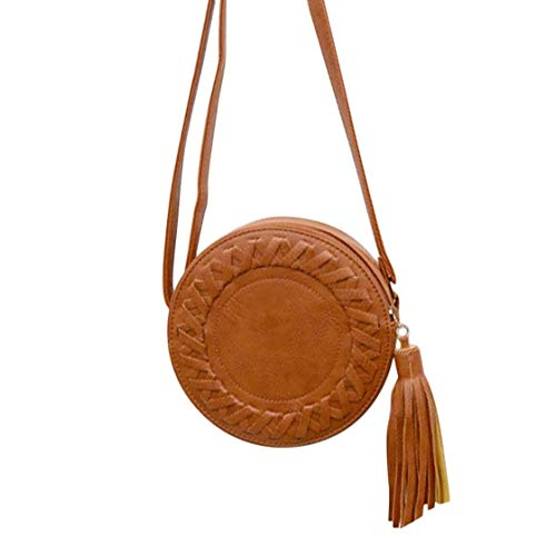 Cute Ladies Spring Messenger Size Shoulder PU Leather Single Women Tassel Bags Summer Small Round Bag Soft Gwendoll Bag 7qd4PwP