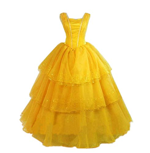 Mordarli Belle Ball Gown Women's Princess Fancy Dress Adult Cosplay Costume Yellow -
