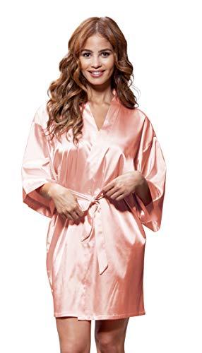 Women's Pure Color Satin Short Kimono Bridesmaids Lingerie Robes (Large, Peach)