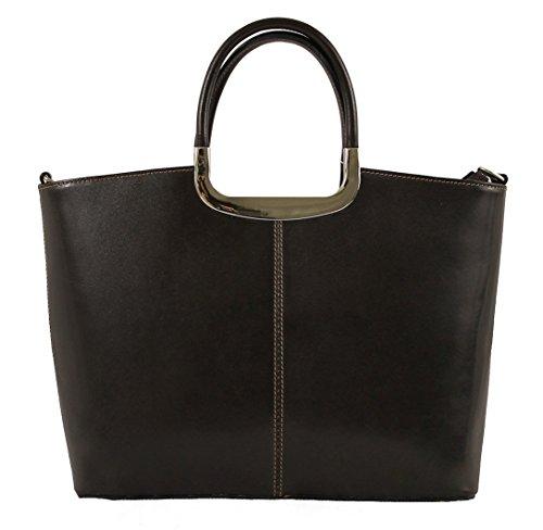 Brown Dark Made in CTM 100 36x27x12cm Sac classique femme véritable cuir Italy wvPATqx
